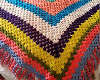 colorful vintage 70u0027s afghan blanket, vintage afghan, funky retro blanket,  hipster afghan, SNQXMPN