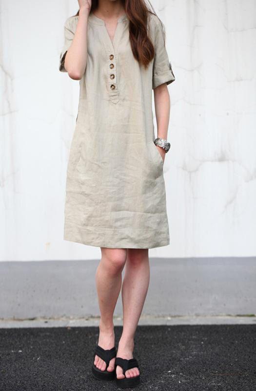cotton dresses khaki linen dress maxi dress cotton dress casual loose cotton skirt linen  blouse large DHIITGH