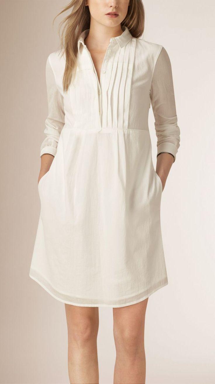cotton dresses pleat detail cotton shirt dress IWBJVAZ