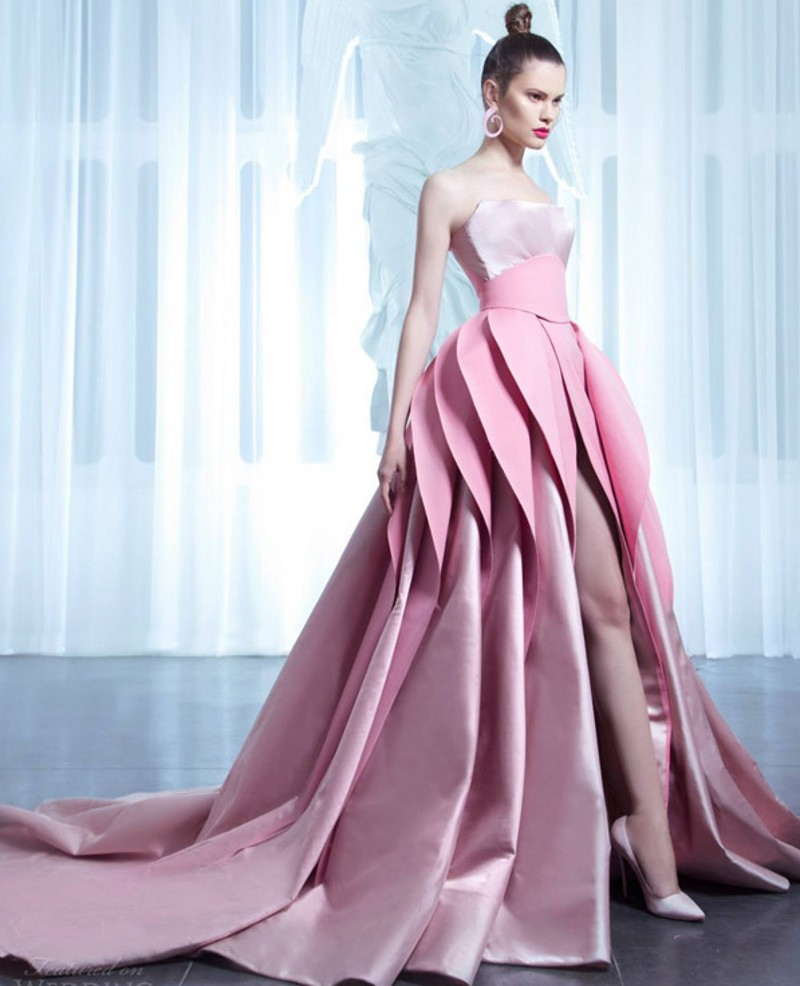 couture dresses 2017 new arrival designer pink wedding dresses with layered skirt unique  style haute couture HFJWVQR
