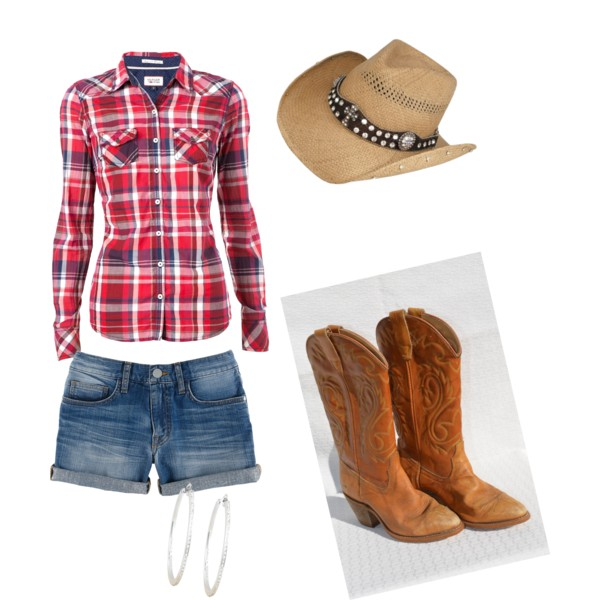 cowgirl outfit a fashion look from october 2013 featuring long sleeve shirts, long shorts  and cowgirl YTPLTLJ