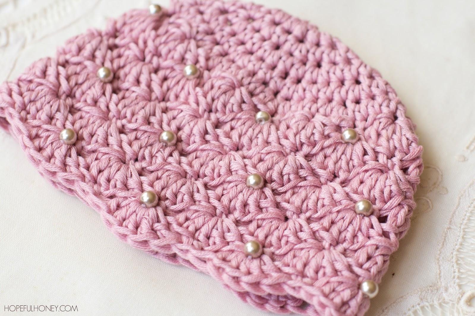 crochet baby beanie pattern vintage pearl baby hat - free crochet pattern TRENJJJ
