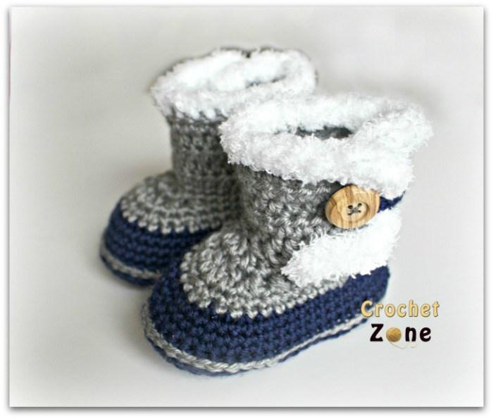 crochet baby booties fur topped baby booties HTFRDPT