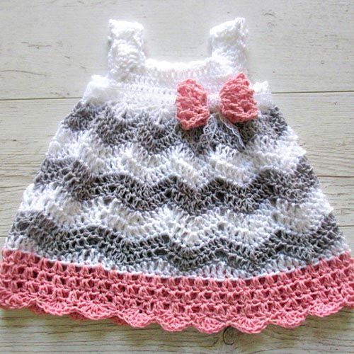 crochet baby clothes crocheted pattern baby dress, pinafore, jumper on crochetsquare.com KWBPBPS