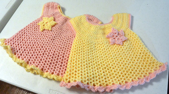 crochet baby dress little sweetie dresses, crocheted by jeanne VDVZLWD
