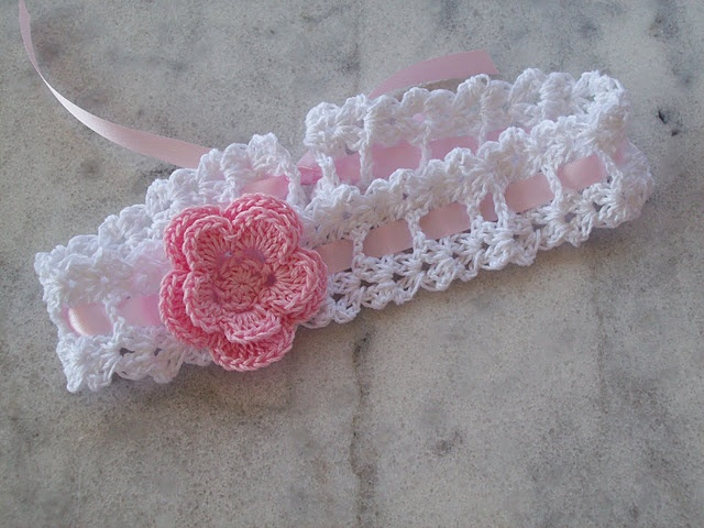 crochet baby headbands ribbon crochet headband with pink flower VXKYVLS