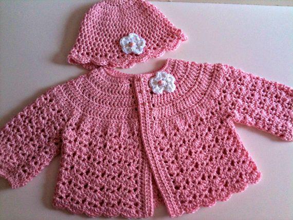 crochet baby sweater hat set pale pink RBFAKUX