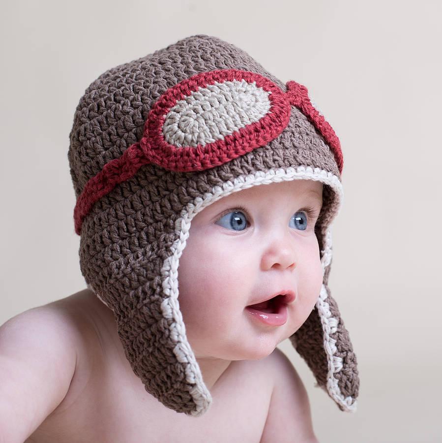 Crochet cap for babies hand crochet baby aviator hat TTZOOOE