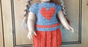 crochet doll clothes heart t and skirt doll crochet pattern BDAURLW