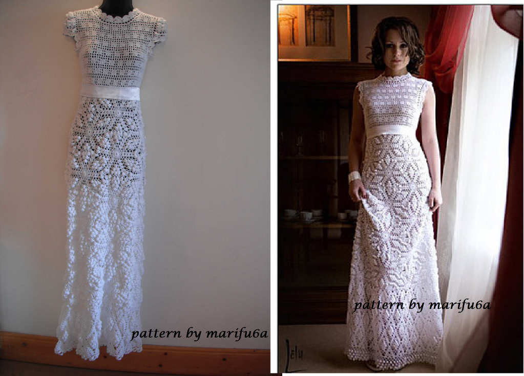 crochet dress pattern crochet wedding dress pattern AZTULAY