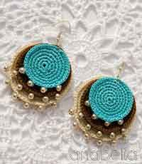 crochet earrings boho turquoise crochet pendant and earrings QMVIRXL