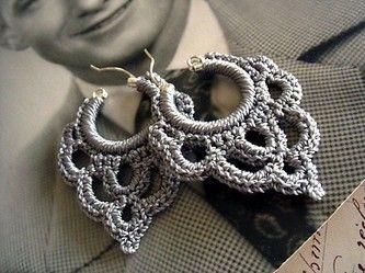 crochet earrings bonita crocheted over sterling silver hoop earring in silvery taupe IBYTHCL