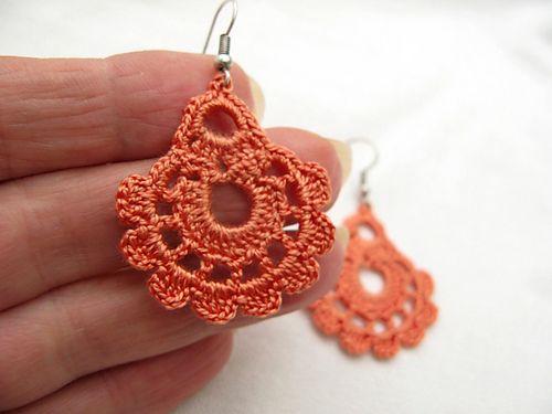 crochet earrings drop earrings #2 pattern by nez jewelry YKONLAY