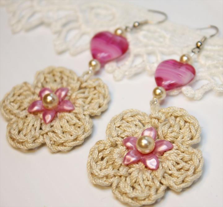 crochet jewelry flowers earring TUYWDRC