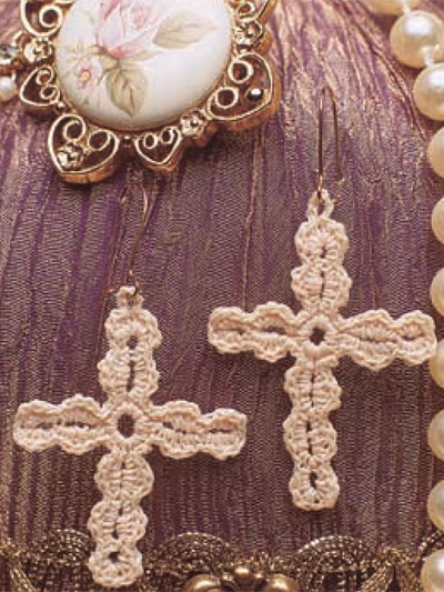 crochet jewelry patterns cross earrings KEAURLM