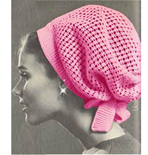 crochet pattern vintage 60s crochet hat pattern crochet snood pattern hair  net hair accessories CWTGUYU