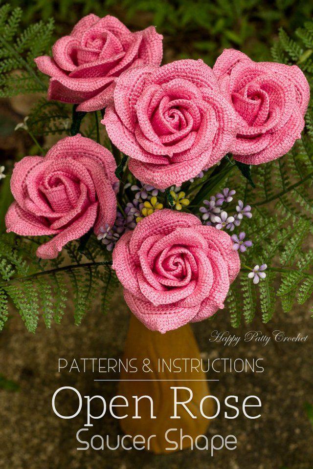crochet rose pattern - crochet flower pattern for bouquets and flower  arrangements - flower DHRTZRP
