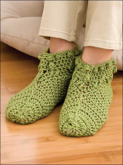 crochet socks foliage slippers UHSGRNR