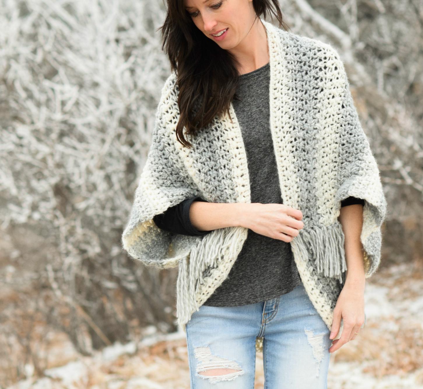crochet sweater patterns 1-lion-brand-scarfie-easy-blanket-sweater-pattern- QMLXYDI