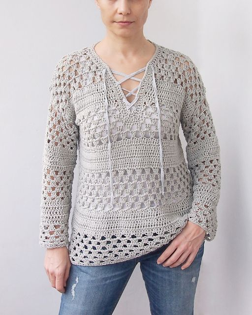 crochet sweater patterns lace up granny stripes sweater pattern by ana d WLUMIVR