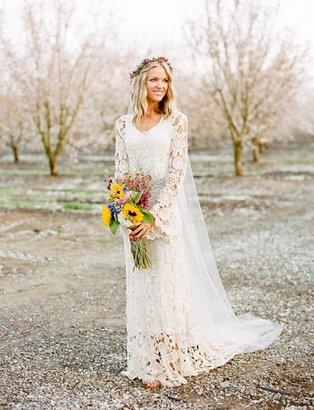 crochet wedding dress this chiffon, floor-length gown can be worn on or off the shoulder. an  extra NLZRKTT