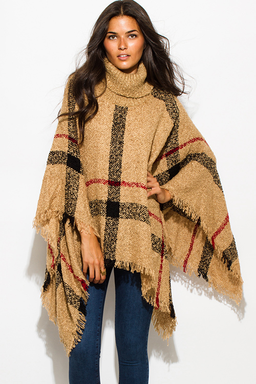 cute cheap camel beige giant checker plaid fuzzy boho knit poncho sweater  jacket tunic HJVNDFI