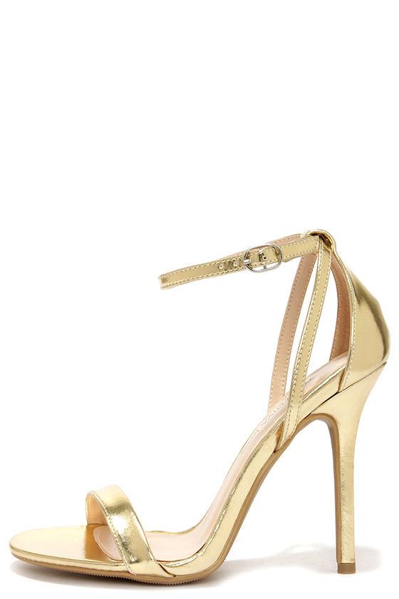 cute gold heels - ankle strap heels - $22.00 SBMQEVY