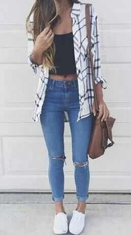cute outfits this flannel outfit is so cute for spring! MLJXZNL