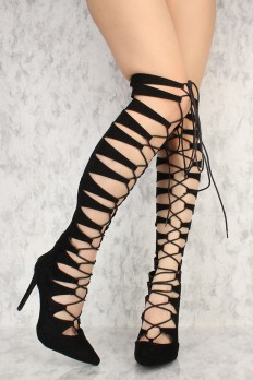 cute shoes black strappy front lace up pointy toe knee high gladiator boots faux suede FWFCOKW