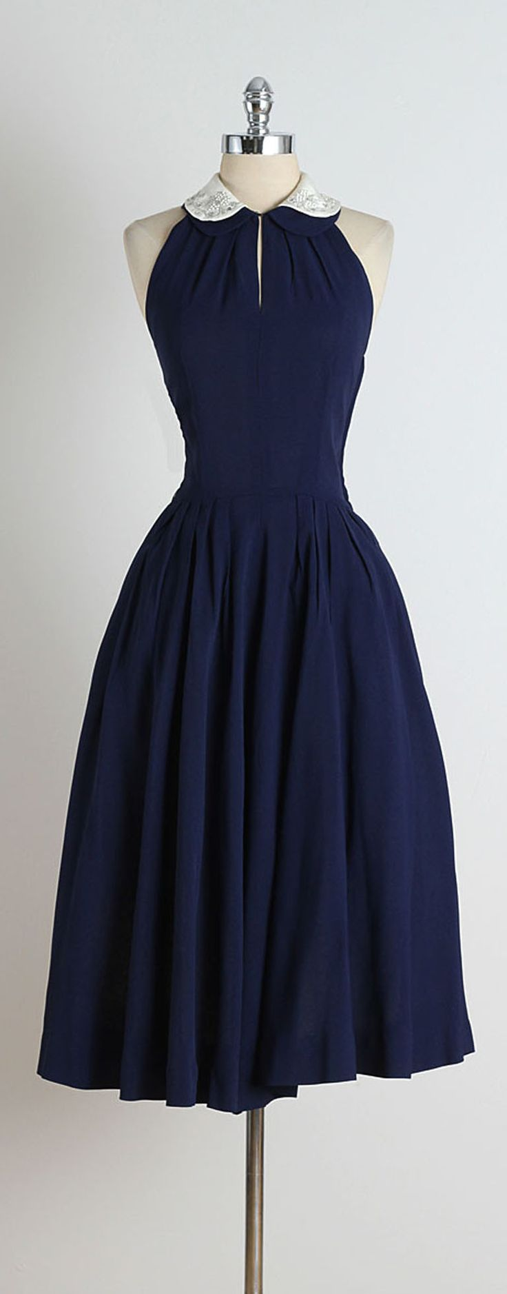 day dresses 1950s blue jeweled collar halter dress NPKKLVY