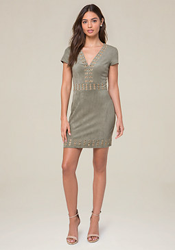day dresses bebe faux suede v-neck dress FMUXNPJ