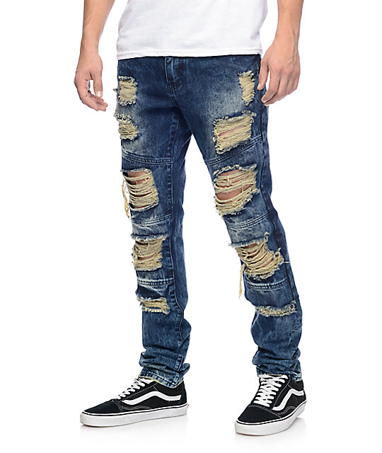 denim jeans crysp denim wayne indigo ripped jeans TYUKUMS