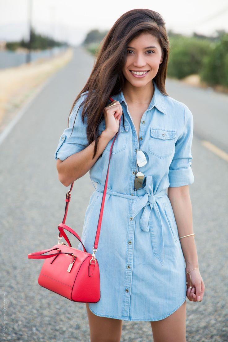 denim shirt dress how to wear a chambray shirtdress GNGKXLN