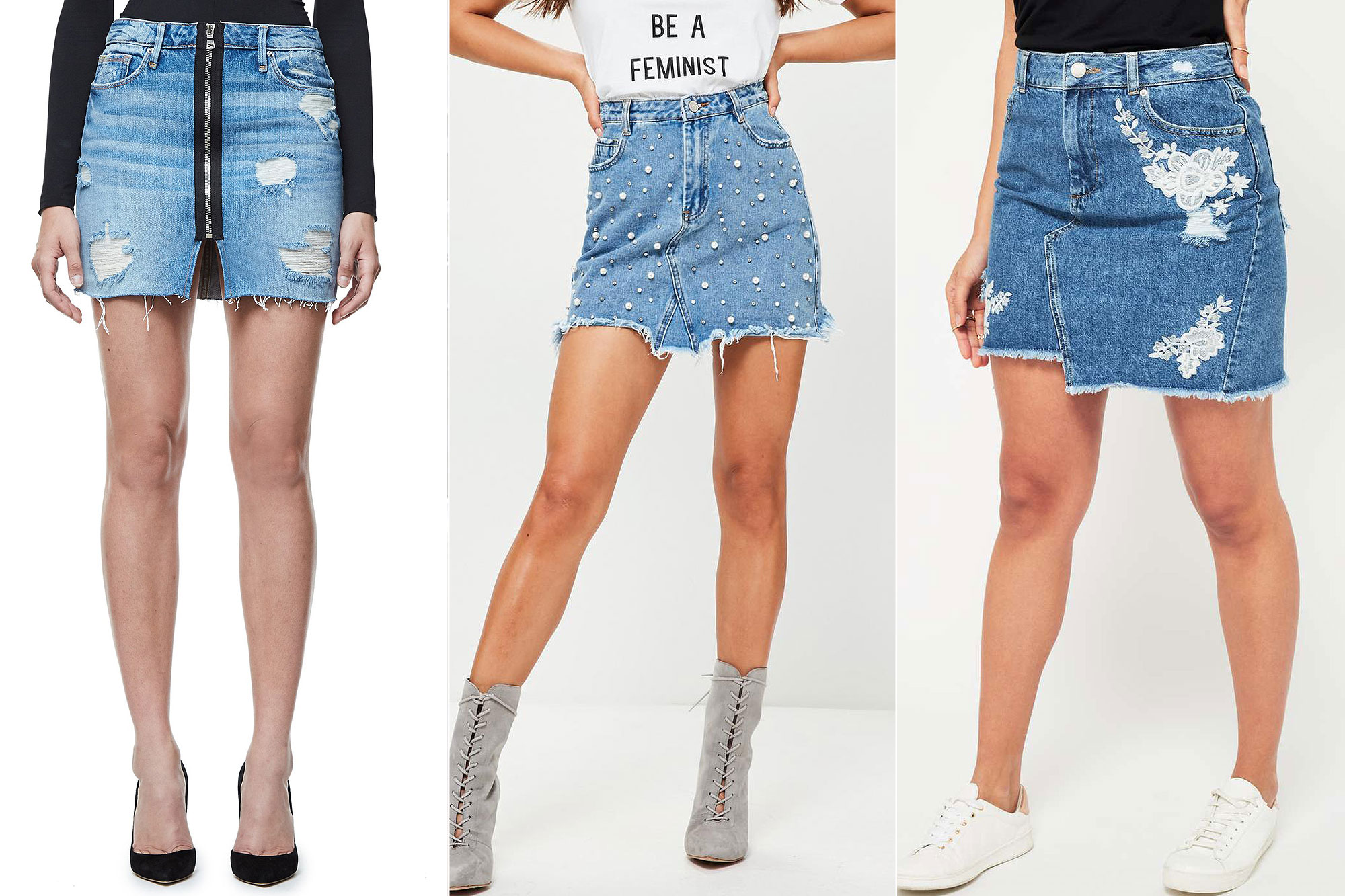 denim skirts buy it! good american exposed zip mini, $155; goodamerican.com, missguided  blue pearl studded denim JUEMWXF