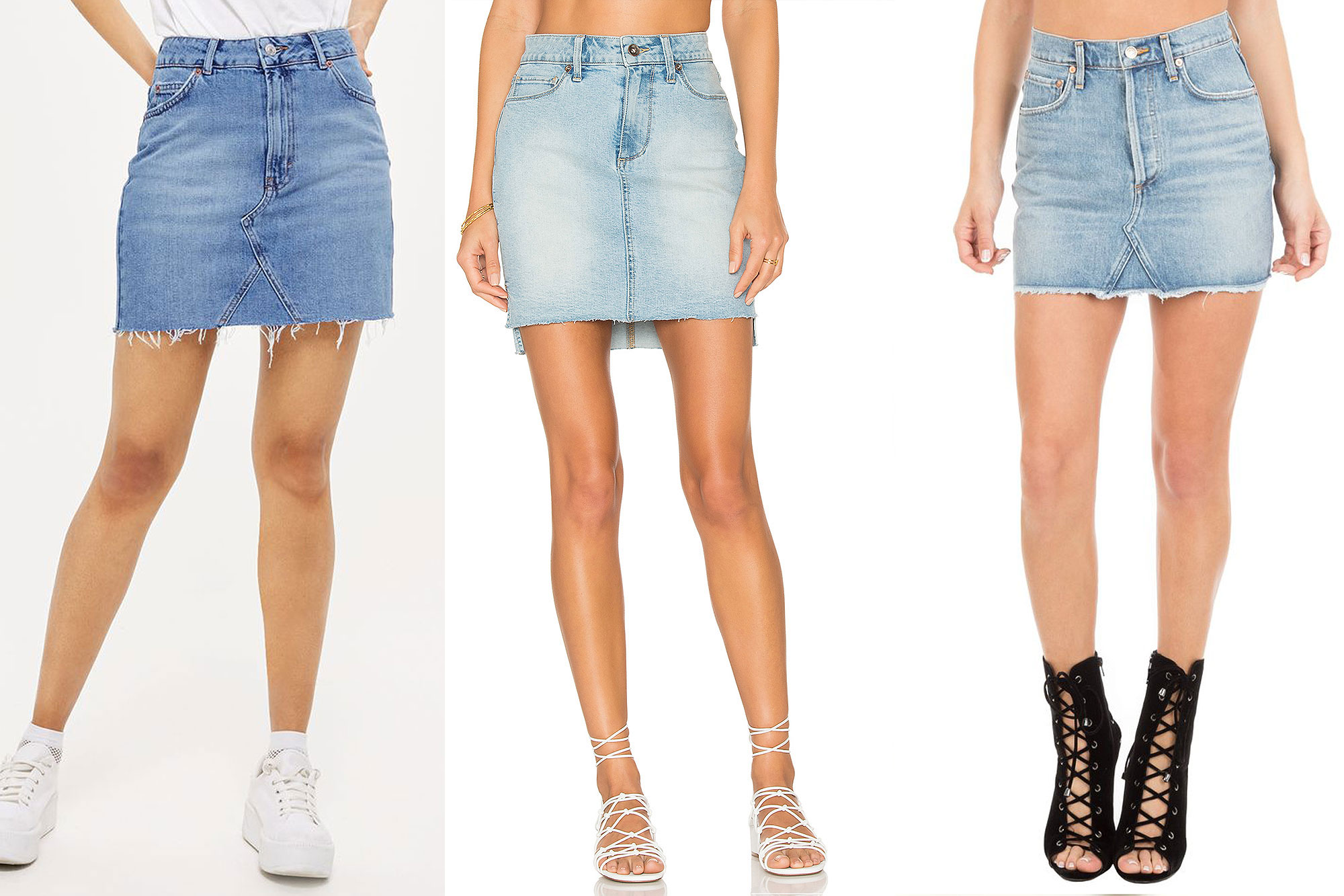 denim skirts buy it! topshop high waisted denim skirt, $55; topshop.com, paige adrian  skirt, $179; revolve.com, GGUTDAF