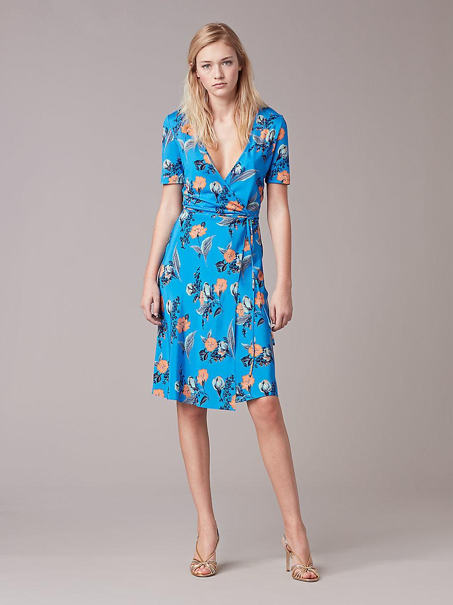 diane von furstenberg wrap dress ... short sleeve flared wrap dress in silese tile blue by dvf YMZYSKZ