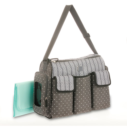 diaper bags child of mine by carteru0027s places and spaces 3 pocket duffle diaper bag gray NOWIIEC