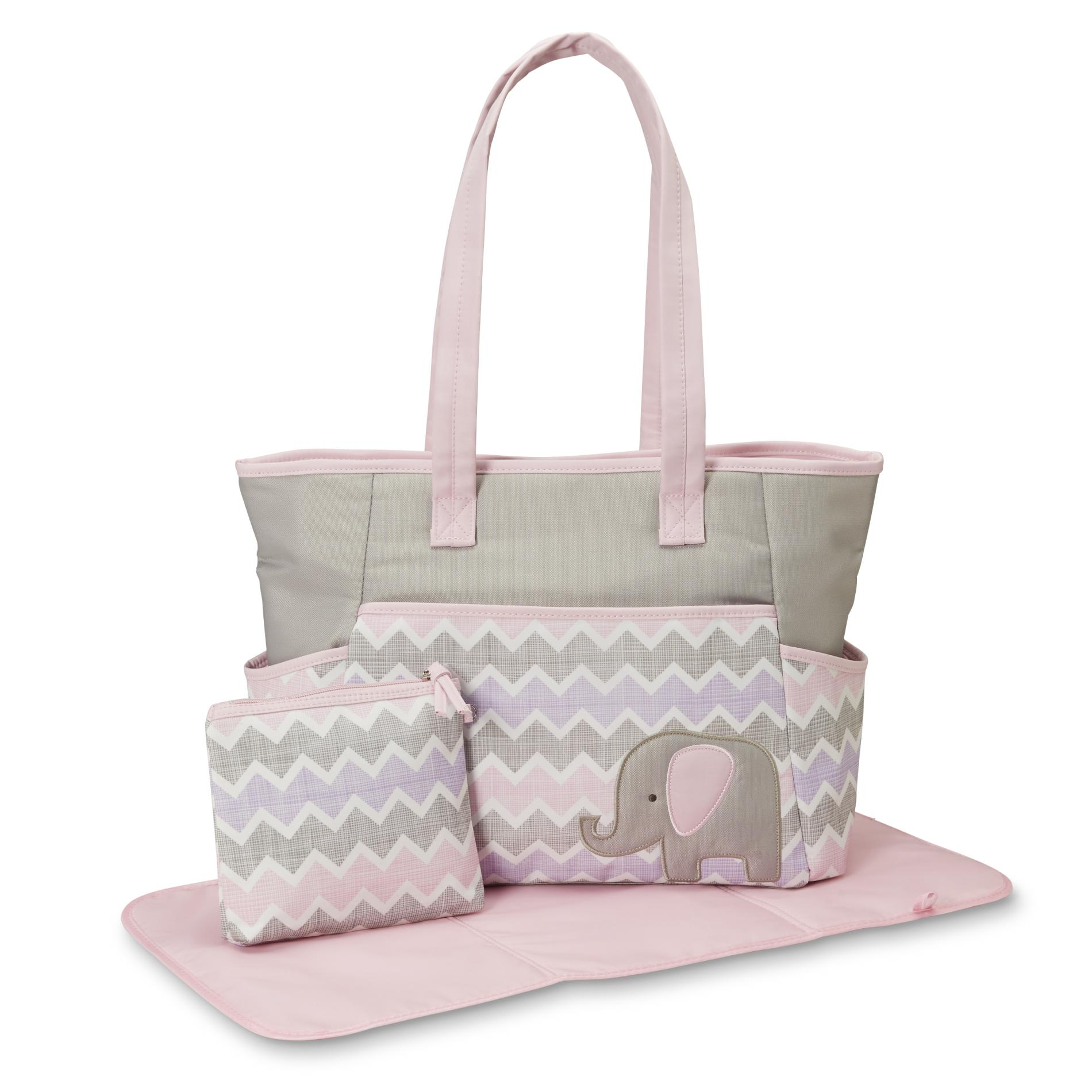 diaper bags for girls tender kisses infant girlsu0027 3-piece diaper bag set - elephant YUYQSLZ