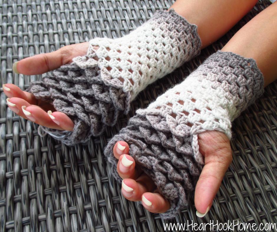 dragon tears fingerless gloves crochet pattern WLERAXV