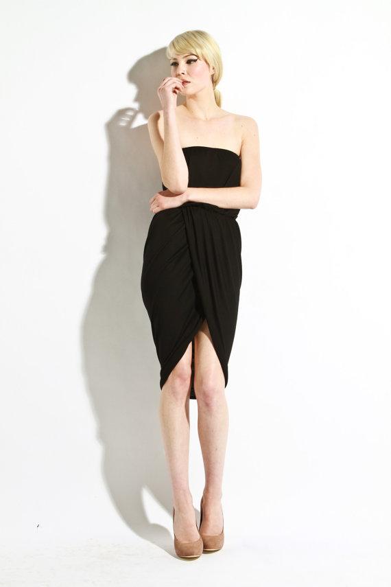 draped strapless dress womens black classic dresses par lamixx BJHHAUG