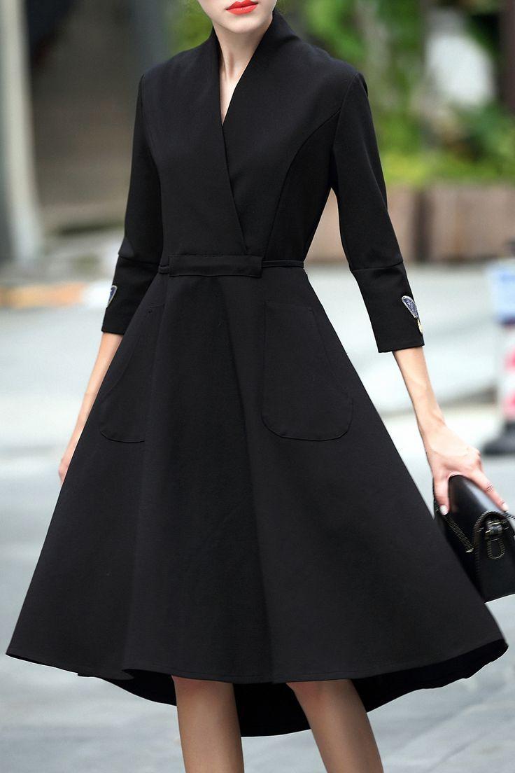 dress coat crossover collar dovetail dress ZLQVOJA
