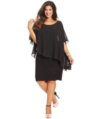 Dresses for plus size women betsy u0026 adam plus size chiffon capelet sheath dress YYHEQLS