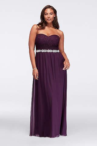 dresses for plus size women davidu0027s bridal. strapless chiffon plus size ... UISACMC