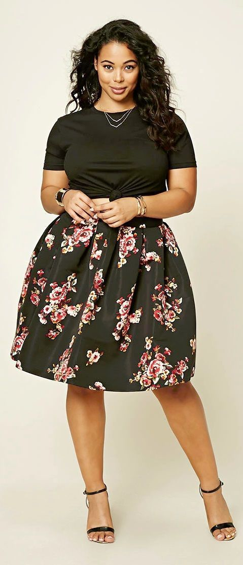 dresses for plus size women pleated floral skirt great looking curvy girl fashion. FZQYVQU