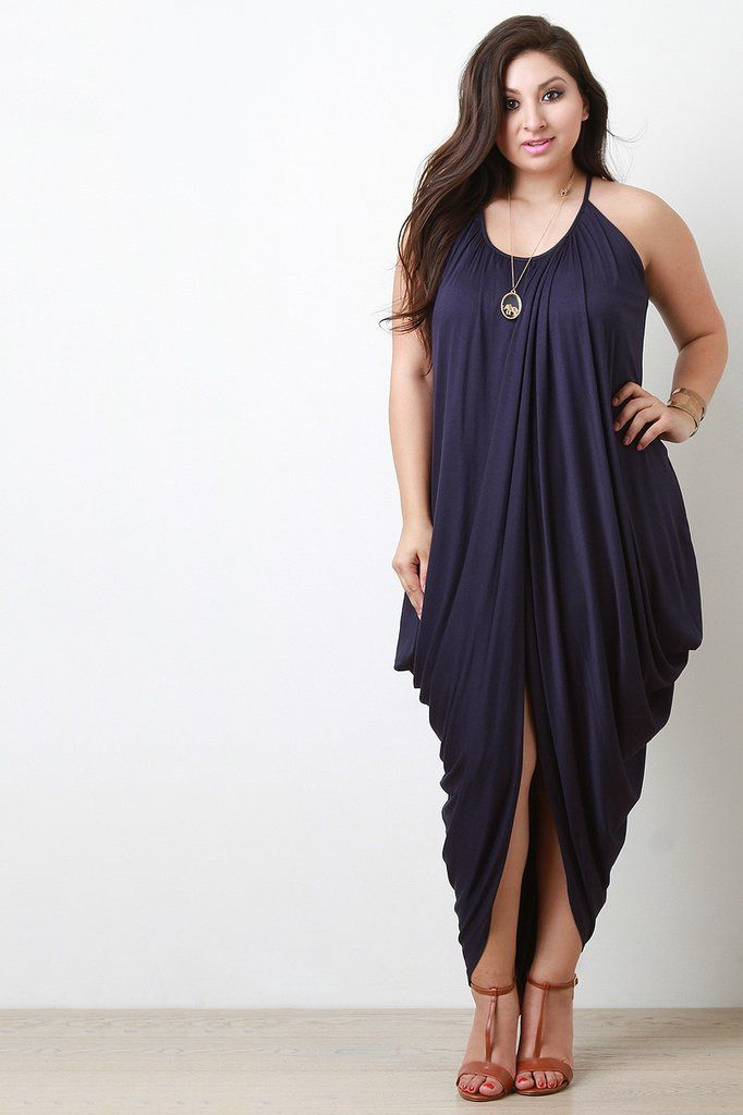 Dresses for plus size women trapezoid wrapped cocoon maxi dress LJEAVGG