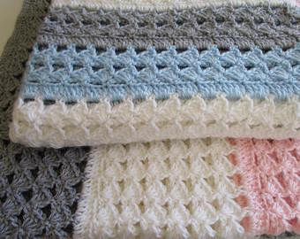 easy crochet blanket pattern, slanted shell stitch variation, crochet afghan,  christening baby blanket DDXUVPY
