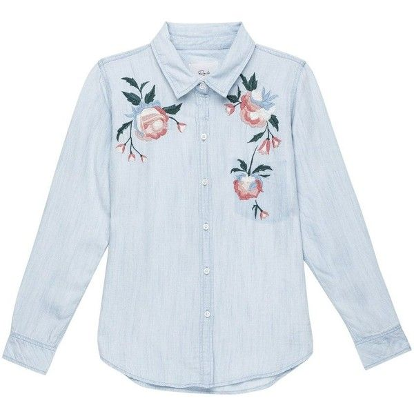 embroidered shirts rails chandler embroidered shirt - vintage wash ($240) ❤ liked on polyvore  featuring tops SMLGBHN