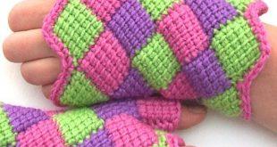 entrelac crochet fingerless gloves KCSSWVU