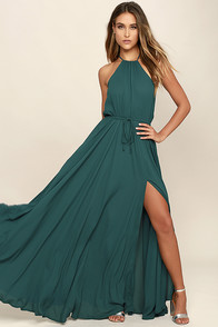 essence of style forest green maxi dress AHOYTCC