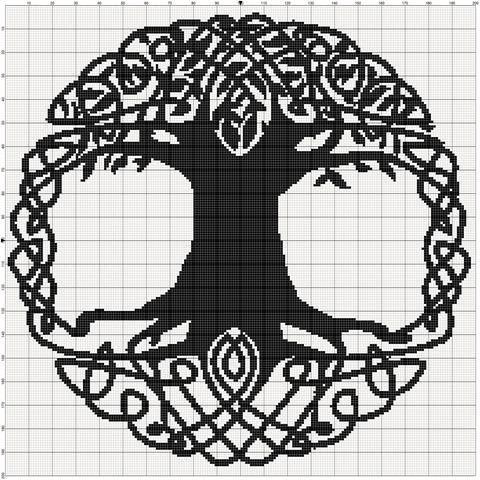 filet crochet pattern - celtic tree KAZJGBC
